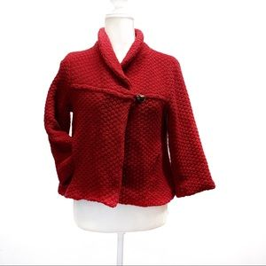 Free people red crop jacket Sz s 100% lambswool